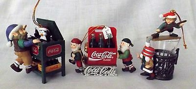 3 Coca Cola Christmas Ornaments, Bottling Works Collection 1996-97