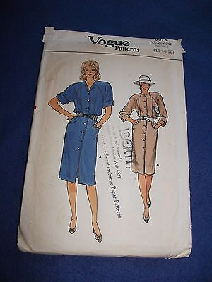 Vogue Sewing Pattern - Lady's Dress In 2 Versions   Sizes 12-16