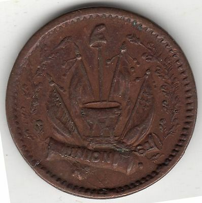 1860s U.S. Union 61 Crossed Cannons Army & Navy Civil War Token - NICE QUALITY