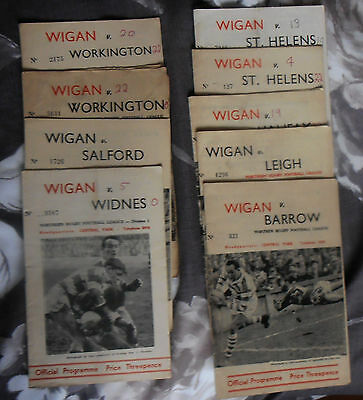 9 Wigan Rugby League Programmes 1960s