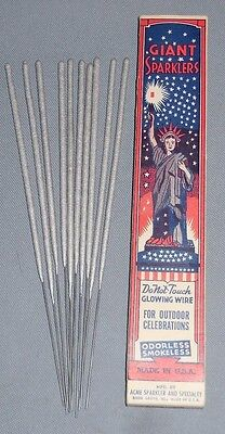 Vintage GIANT SPARKLERS and Original Box & Unused Sparklers MINT Fire Cackers