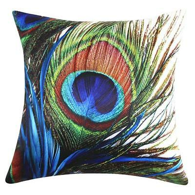 Colorful Peacock Feather Pillow Case Sofa Waist Throw Cushion Cover Home Decor