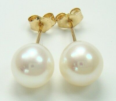 Nice 9Kt Yellow Gold Cultured Pearl Stud Earrings