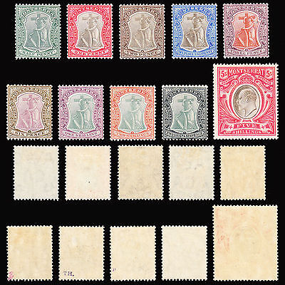 Montserrat KEVII 1904-08 WMK Multiple Crown CA set of 10 fine MH SG24/33 CV £300