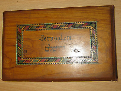 Antique Olive Wood Book / Dried Flowers & Images From The Holy Land