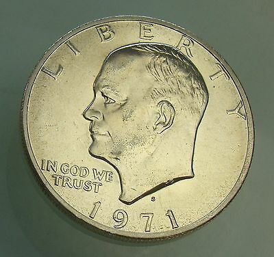 1971-S Eisenhower Uncirculated Dollar 40% Silver Coin $1, Item# 4058