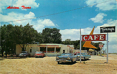 Tommy's Cafe, Adrian Texas, Rt 66, Vintage Postcard