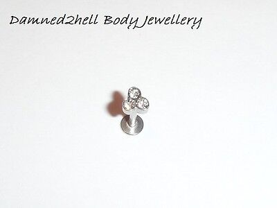 SURGICAL STEEL LABRET TRAGUS STUD WITH CRYSTAL TRIANGLE TOP ~ 1.2mm