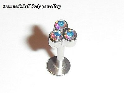SURGICAL STEEL LABRET TRAGUS STUD WITH AB CRYSTAL TRIANGLE TOP ~ 1.2mm