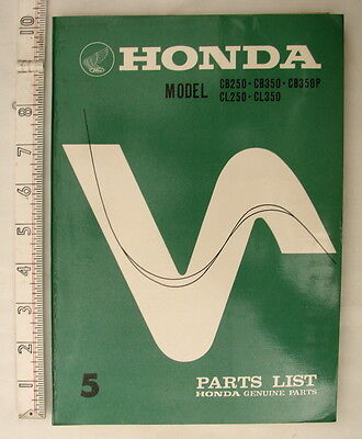 Genuine 1971 Honda Spare Parts List Model CB 250-CB350-CB350P. CL250-CL350