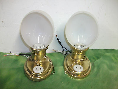 ( pair ) Antique Brass Pull Chain Single Socket Wall Sconces with Working Plugs.