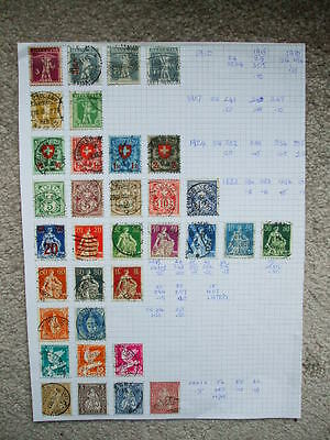 A Page Of Switzerland Helvitia Used Stamps