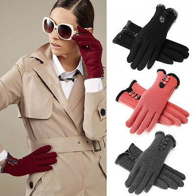 Women Lady Warm Winter Gloves Outdoor Driving Screen Touch Gloves Mittens TY