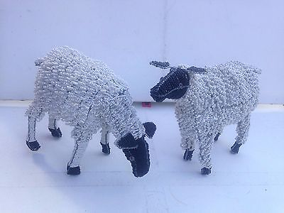"Two British Hand Crafted Decorative Beaded Wire Sheep 10"" Tall 13"" Wide"