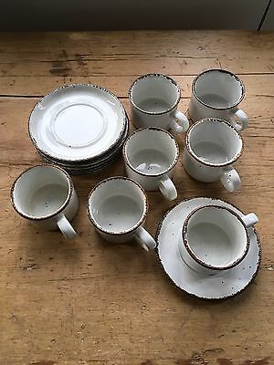 Set of 7 Midwinter Stonehenge Creation Coffee Cups / Mugs & 8 Saucers