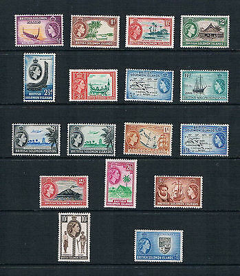 Solomon Is - 1956 QEII Scenes Complete to £1 - SC 89-105 [SG 82-96] Mint 17