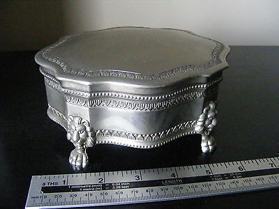 Vintage Silver Plated Lion Head Claw Feet Hinged Lid Jewellery Box
