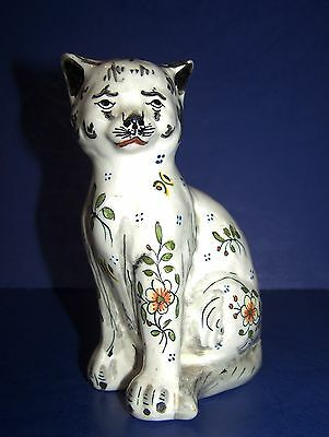 DESVRES n Quimper French faience cat with floral decor