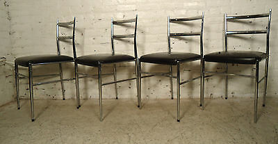 Vintage-Modern Set Of Four Chrome Chairs - (03230NS)