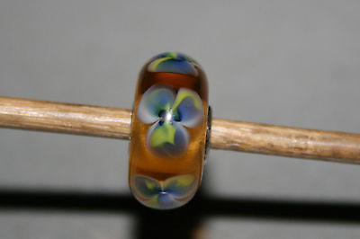 Original Trollbeads -  Glowing Pansy - Retired Limited US Edition - Neu - Rare