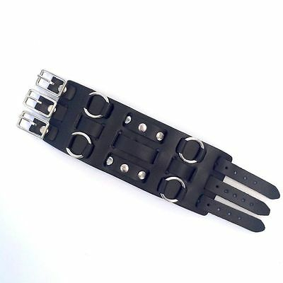 Mens Biker Studded Leather Wide Watch Band Buckle Close - 70's Style - USA MADE