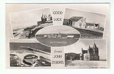 John O' Groats Post Office Hotel Pier Real Photograph Tourist Stamp c1940's