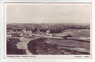 Thurso From The Castle Caithness Real Photograph J Adams Old Postcard Unposted