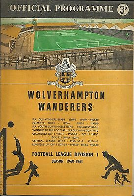 Wolves v./ Rangers - cup winners cup semi final 1961 - excellent condition