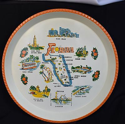 VINTAGE Kitschy Mid Century Florida State Map & Sightseeing Metal Tray