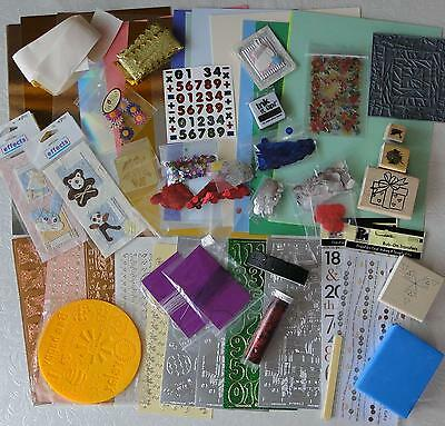 Job Lot : A4 Cardstock/ Ribbons / Stamps / 9 Sheets Peel-Offs & More   G10