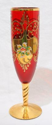 Stunning Antique Vintage Venetian ? Ruby Drinking Glass with Enamel Decoration