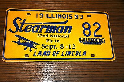 Stearman 82 Galseburg 22nd National Fly-in Licence plates 1993 Illinois Land of