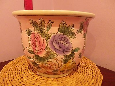 Large Vintage Chinese Pottery Peony Flowers Design Plant Pot 20 Cms Dia 15 Tall
