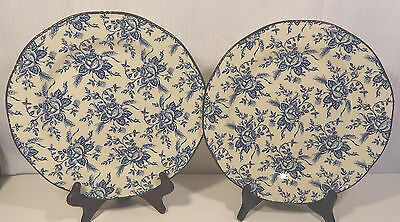 2 Wood & Sons Vintage COLONIAL ROSE BLUE Dinner Plates