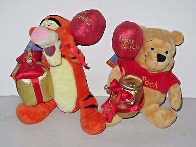 Disney Special Edition Beanies 80 Years Happy Birthday Pooh & Tigger Soft Toys