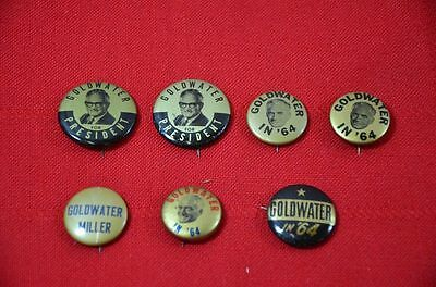 1964 Goldwater Miller President Election Campaign Button Pin Lot of 7 Gold  1344