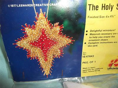 Vintage LeeWards RED GOLD HOLY CHRISTMAS STAR Bead Sequin Ornament Kit RARE
