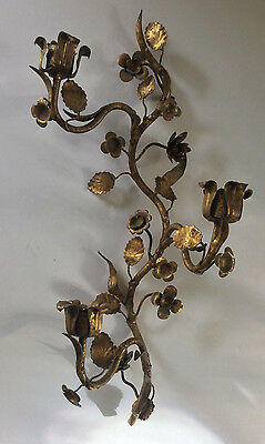 S Salvadori Firenze Guilt Metal TOLE Wall Candle Sconce Hollywood Regency Italy