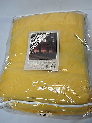 Vintage Faribo Northwood Sunny Yellow 100% Pure Wool Blanket Double Full Mint!