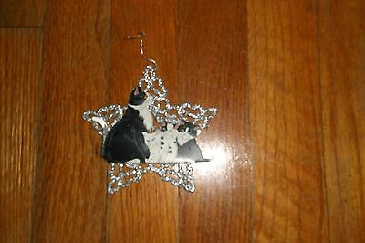 Cats On Snowflake Christmas Ornament