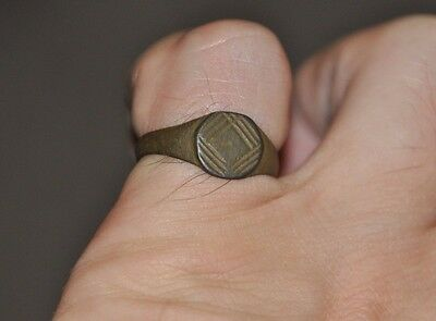 Ancient Authentic Roman Empire Legionary Bronze Intact Wearable Ring Sz US 8.5