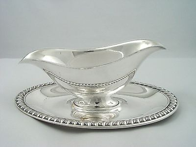 Vintage Silverplate Gravy Boat Attached Bowl Sauce Boat