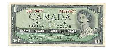 1954 Bank of Canada $1 One Dollar Elizabeth II Revised Head Foreign World Note
