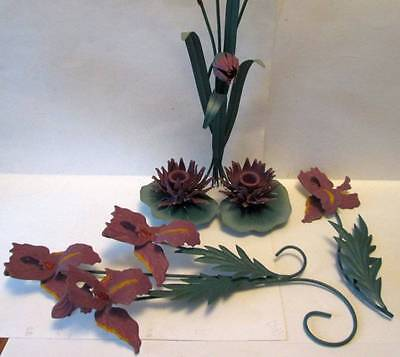 Vintage Mid Century Lily Pad Taper Candle Wall Sconce Flowers Set Metal