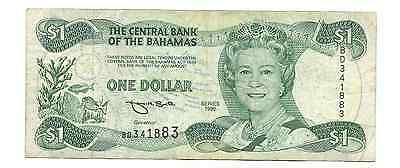 Series 1996 Central Bank of the Bahamas $1 One Dollar Foreign World Banknote