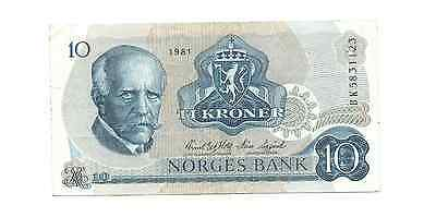 1981 Norges Bank Norway Ten 10 Ti Kroner Foreign World Banknote