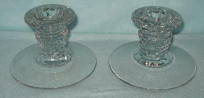 Fostoria American Low Candle Holders Pair