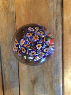 Gentile Glass W. Virginia Blue Yellow Flowers  Paperweight