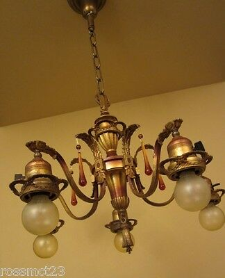 Vintage Lighting lovely 1920s polychrome chandelier