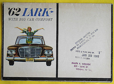 "1962 STUDEBAKER LARK Brochure Literature Catalog Foldout ""Combined US Shipping"""